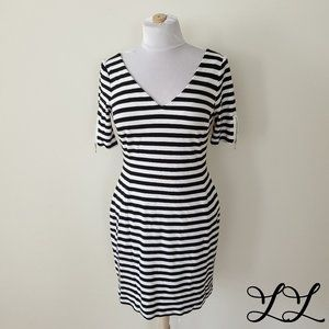 Banana Republic Dress Black White Stripes Tight